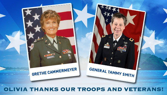 Olivia thanks our troops and veterans with Col. Grethe Cammermeyer and General Tammy Smith